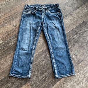 Women's Silver Aiko Capri Jeans Sz 28